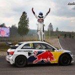 Ekström célèbre sa première victoire dans le championnat mondial de Rallycross au volant de son Audi S1 EKS RX