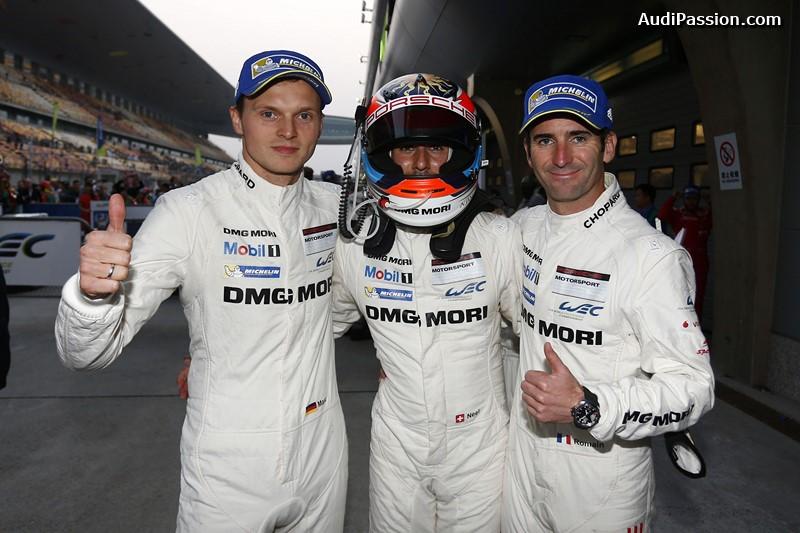 Porsche Team: Marc Lieb, Neel Jani, Romain Dumas (l-r)