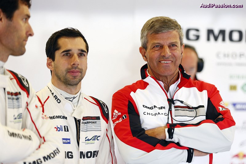 Porsche Team: Neel Jani, Fritz Enzinger, Leiter LMP1 (l-r)