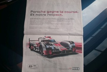 24 Heures du Mans 2015 – Publicités de Porsche et Audi dans le journal L'équipe