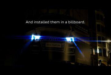 Vidéo - Campagne lumineuse originale pour le lancement de l'Audi A4 à Bruxelles