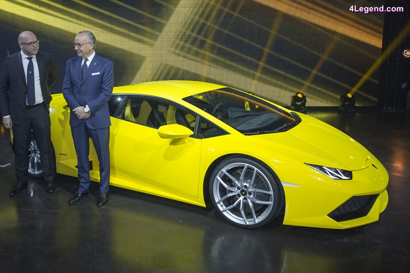 from left: Filippo Perini – Head of Design, Centro Stile, Automobili Lamborghini S.p.A., Walter de Silva - Head of Volkswagen Group Design next to the Lamborghini Huracán; at the pre evening of the Annual press Conference of AUDI AG.