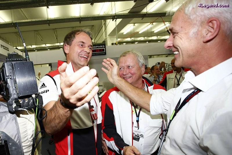Dr. Oliver Blume, (Vorstandsvorsitzender der Porsche AG), Dr. Wolfgang Porsche (Aufsichtsratsvorsitzender der Porsche AG), Matthias Mueller (Vorsitzender des Vorstands der Volkswagen AG) (l-r)