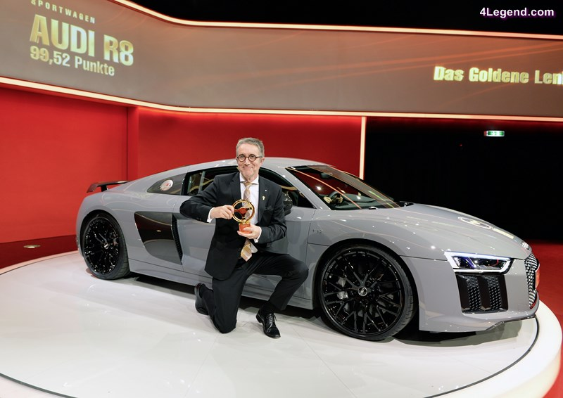 Heinz Hollerweger, Managing Director of quattro GmbH, with the Golden Steering Wheel for the Audi R8.
