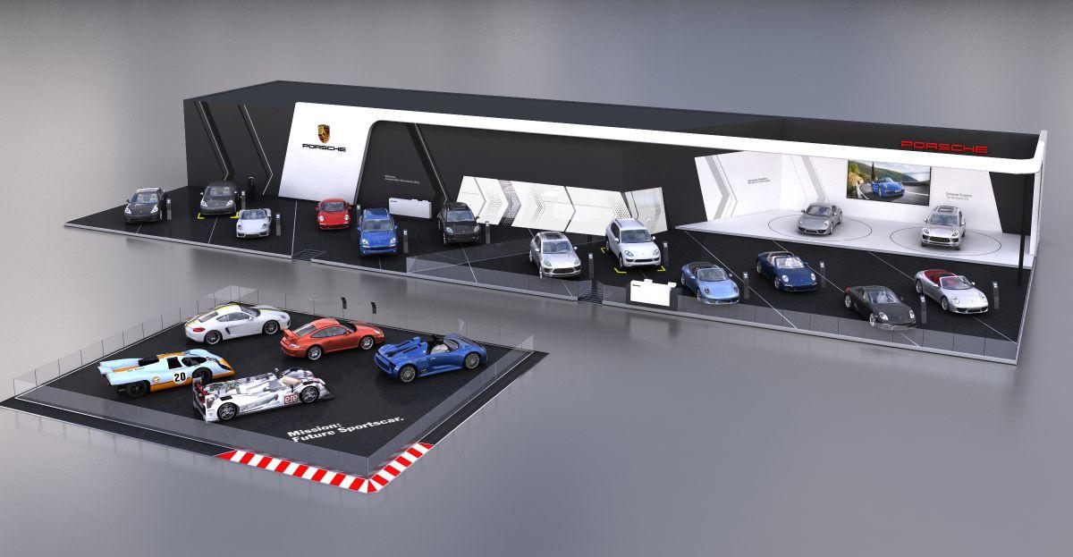 Porsche au salon automobile de Bruxelles - Une grand stand mettant en avant la compétition