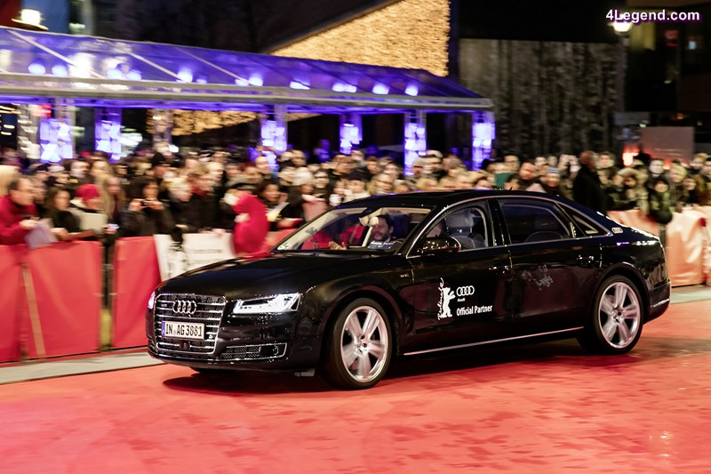A piloted driving Audi A8 L W12 brings Daniel Brühl and his girlfriend Felicitas Rombold to the red carpet