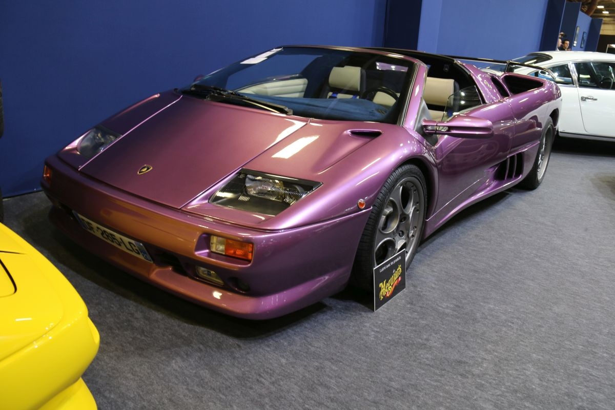 Rétromobile 2016 - Lamborghini Diablo Roadster VT 5.7 de 1999 - Purple 30th Anniversary