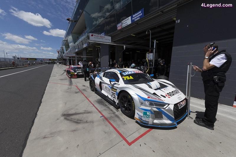 Audi R8 LMS #75 (Jamec Pem Racing), Steven McLaughlan/René Rast/Garth Tander; Audi R8 LMS #5 (GT Motorsport), Greg Taylor/Barton Mawer/Nathan Antunes