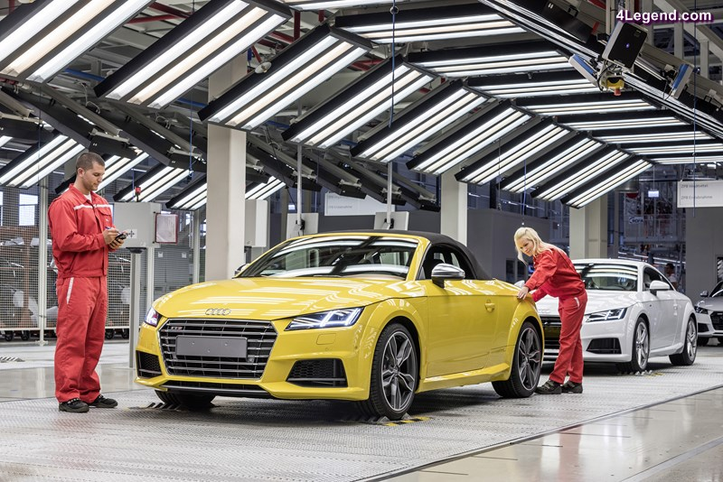 Audi Hungaria: Start of production of new Audi TT Roadster The new generation of the Audi TT Roadster* is driving off the assembly lines at Audi Hungaria. After the A3 Sedan*, A3 Cabriolet* and TT Coupe*, this is the fourth Audi model to go into series production at the new automobile factory.