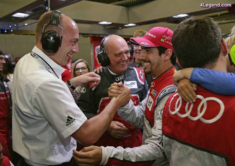 Dr.-Ing. Stefan Knirsch (Member of the Board of Management of AUDI AG Technical Development), Dr. Wolfgang Ullrich (Head of Audi Sport), Lucas di Grassi, Loïc Duval