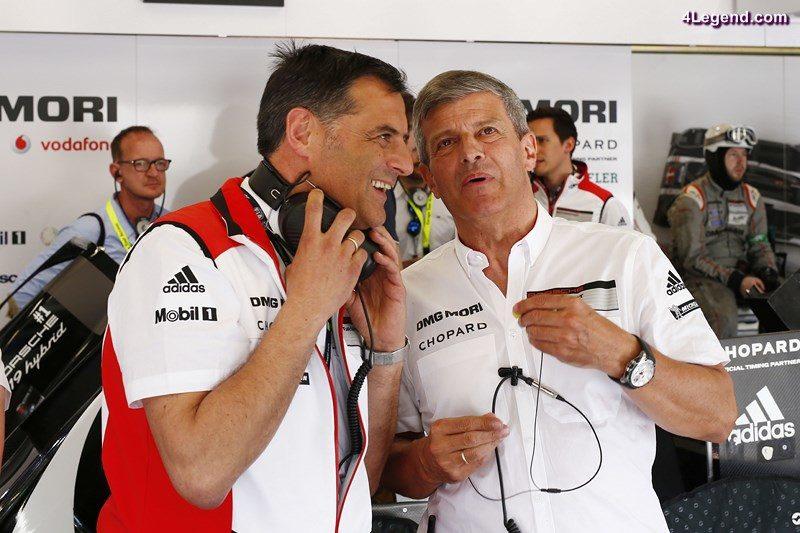 Dr. Michael Steiner, Vorstand Forschung und Entwicklung Porsche AG, Fritz Enzinger, Leiter LMP1 (l-r)