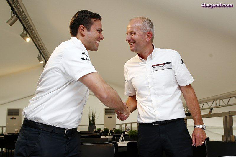 Morgan Brady (Teamchef CORE Autosport), Jens Walther (Praesident und CEO Porsche Motorsport North Amerika) (l-r)