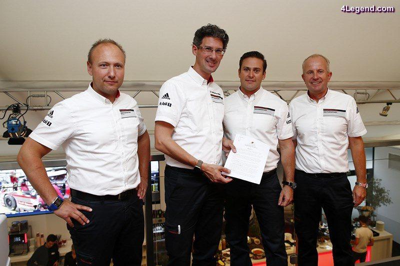 Marco Ujhasi (Gesamtprojektleiter GT Werksmotorsport), Morgan Brady (Teamchef CORE Autosport), Dr. Frank-Steffen Walliser (Porsche-Motorsportchef), Jens Walther (Praesident und CEO Porsche Motorsport North Amerika) (l-r)