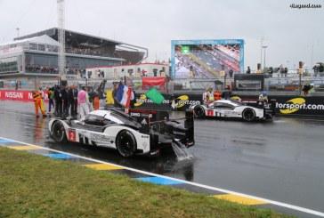 24 Heures 2016 – Départ de la course sous Safety car à cause de la pluie et Porsche en tête