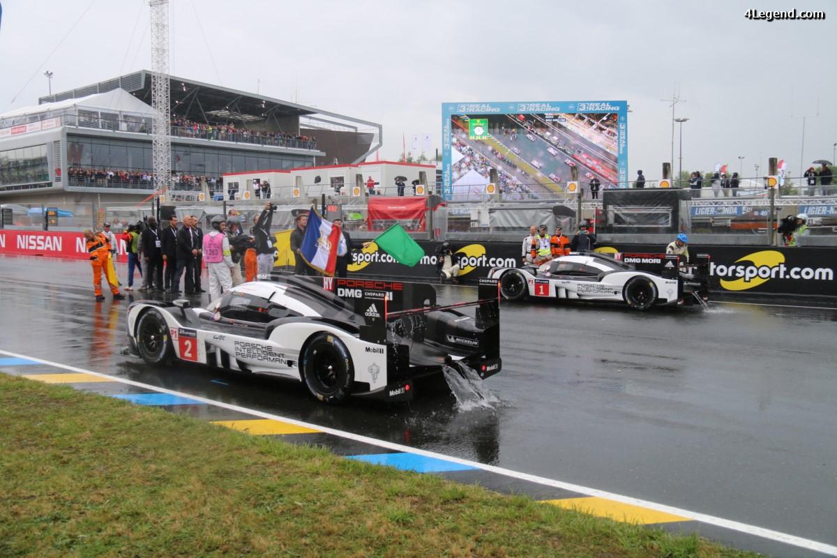 24 Heures 2016 - Départ de la course sous Safety car à cause de la pluie et Porsche en tête