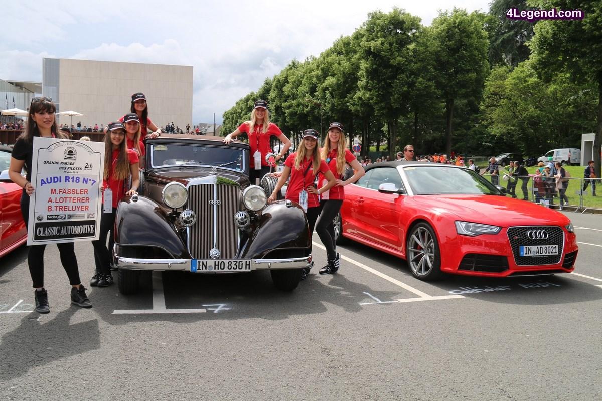 24 Heures du Mans 2016 - Parade des pilotes avec de nombreuses Porsche, Lamborghini, Audi, Horch, Bugatti