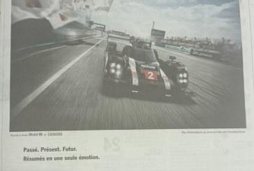 24 Heures du Mans 2016 – Publicités Porsche et Audi dans le journal L'Equipe