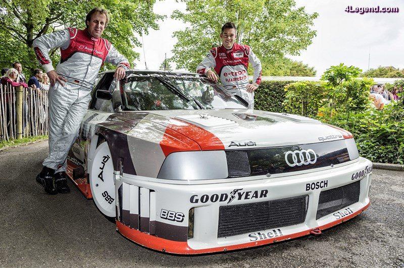Zwei Audi-Fahrer, acht Le Mans-Siege: André Lotterer (rechts), der aktuelle Sieger des berühmtesten Langstreckenrennens der Welt, zusammen mit Frank Biela (fünffacher Le Mans-Sieger) vor dem Audi 90 quattro IMSA GTO.