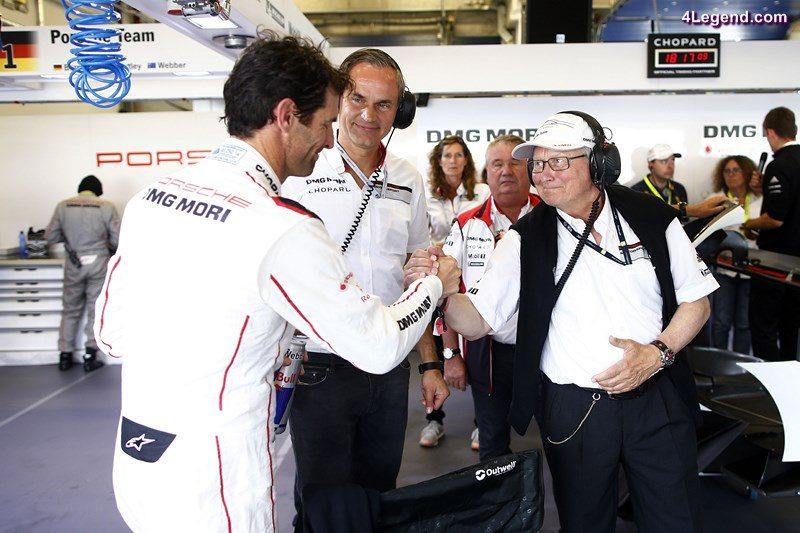 Porsche Team: Mark Webber, Oliver Blume (Chairman of the Executive Board of Porsche AG), Dr. Wolfgang Porsche, Aufsichtsratsvorsitzender der Porsche AG (l-r)