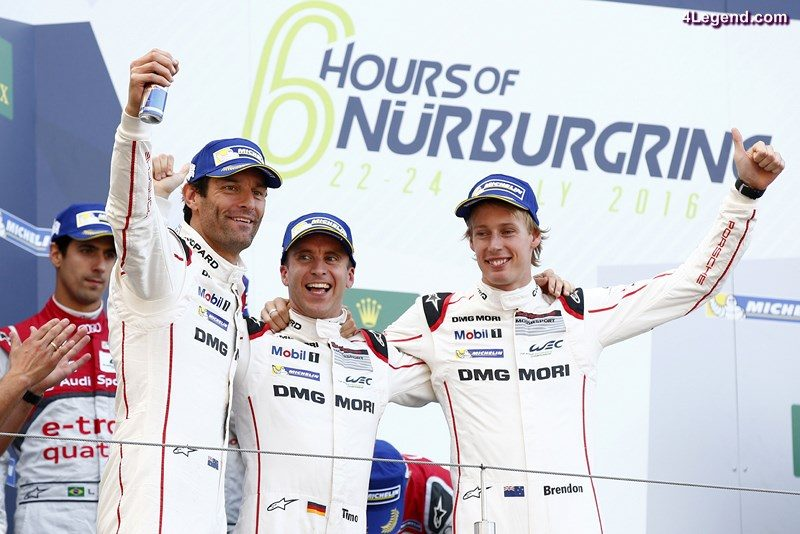Porsche Team: Mark Webber, Timo Bernhard, Brendon Hartley (l-r)