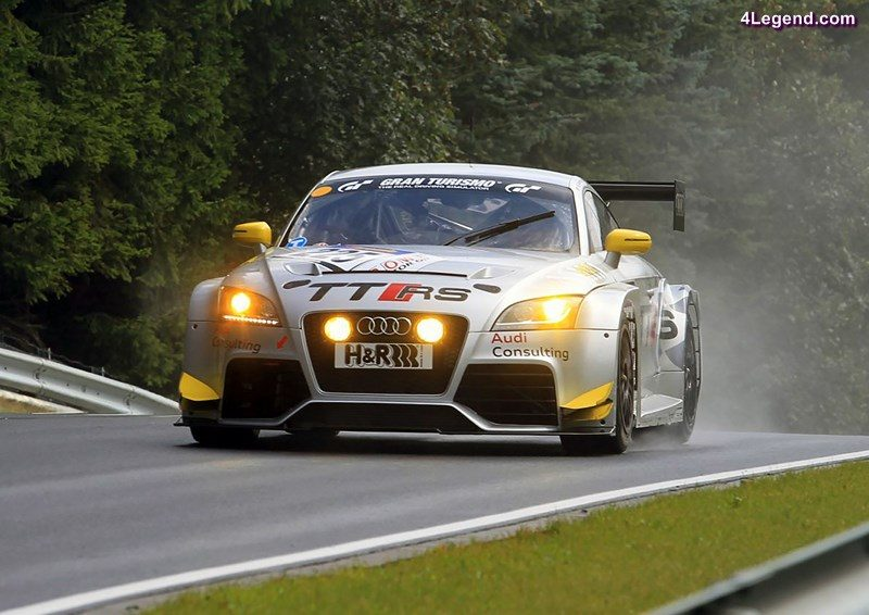 2010: Audi TT RS in races: In 2010, Audi starts its motorsport activities with the TT RS. The racing car developed for endurance racing is powered by the five-cylinder engine from the production model. Following improvements to the intercooler and exhaust system, the powerplant delivers 280 kW (380 hp) at 5,800 revolutions per minute. The maximum torque of 500 newton meters (368.78 lb-ft) develops at 2,500 rpm. In the VLN Endurance Championship of 2010 and 2011, the frontwheel-drive racing car notches up several victories in the SP4T class up to 2.5 liters' capacity. In August 2011, it clinches overall victory in the 6-hour race on the Nürburgring. Audi achieves further success with the TT RS in the 24-hour race in the Eifel in 2011, where it takes class victory.