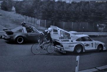 Une Porsche 935 modifiée pour un record du monde de vitesse en vélo en 1978