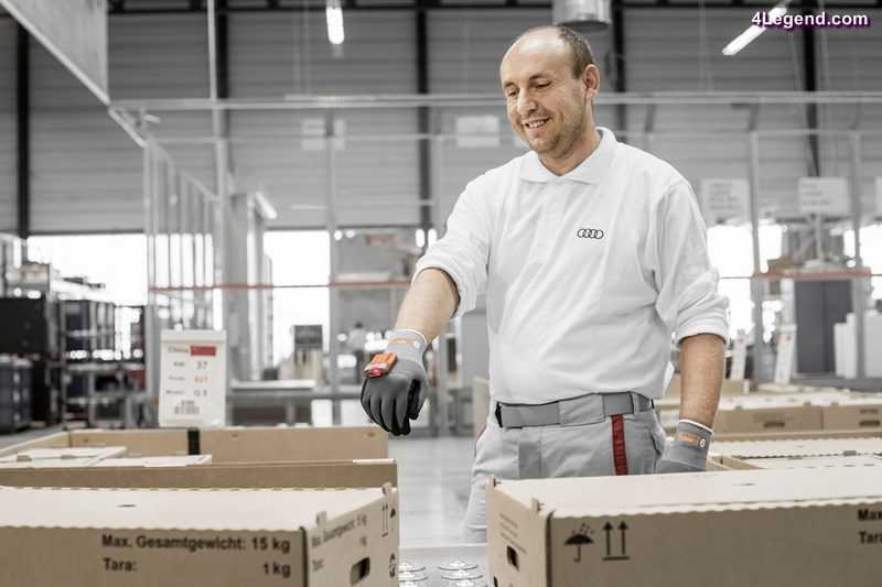 "Scanner-gloves make work easier for international logistics employees at the Audi plant in Ingolstadt: For the worldwide dispatch of car components, they use the ""ProGlove"" by the name of ""Mark"" with its embedded barcode scanner."