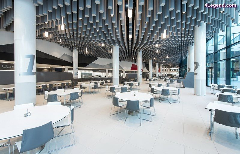 Groundbreaking office building at Audi in Ingolstadt – The core is the new catering area with up to 1,500 seats. Audi employees have the possibility to choose from a variety of meals at five different counters. Sound-absorbing cylinders at the ceiling create favorable acoustics.