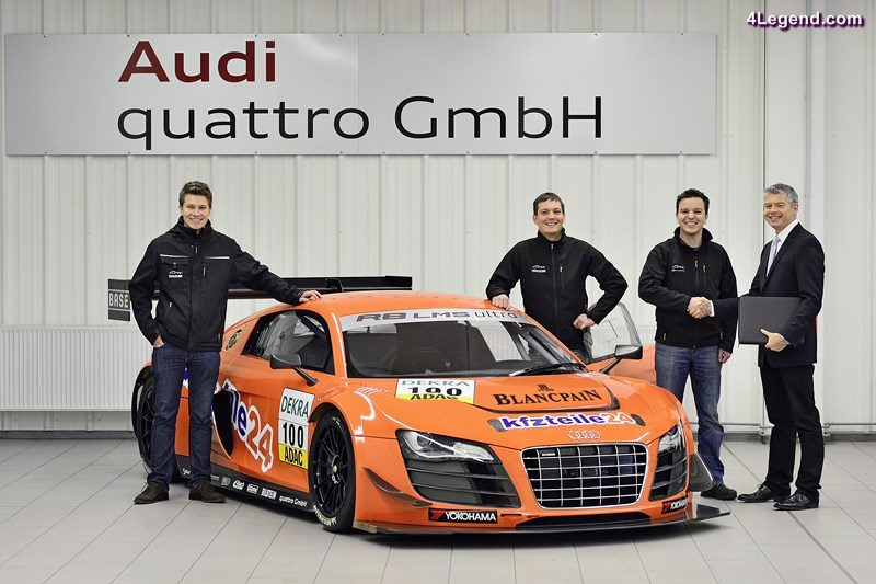 Newcomer to Audi Sport customer racing: Team MS RACING is switching to Audi and will be fielding two new R8 LMS ultra cars in the 2013 ADAC GT Masters. On Tuesday, quattro GmbH handed over the 100th race car from Heilbronn-Biberach, a facility of the Neckarsulm location, to the squad. Pictured from left: Sebastian Asch, Florian Stoll, Ralph Stoll, Dirk Spohr