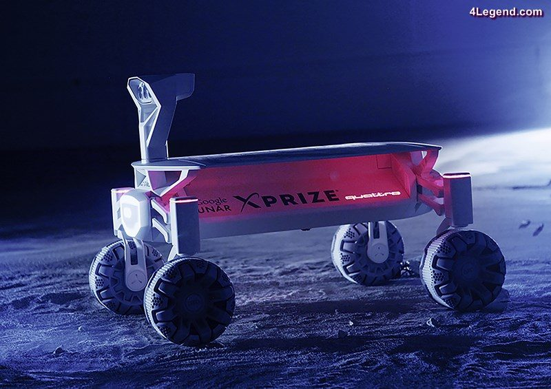 MISSION TO THE MOON Audi lunar quattro Battery under a solar panel – The vehicle supplies itself with energy.