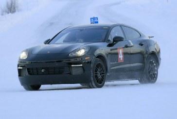 Spyshots du mulet de la future Porsche Mission E en tests en Laponie