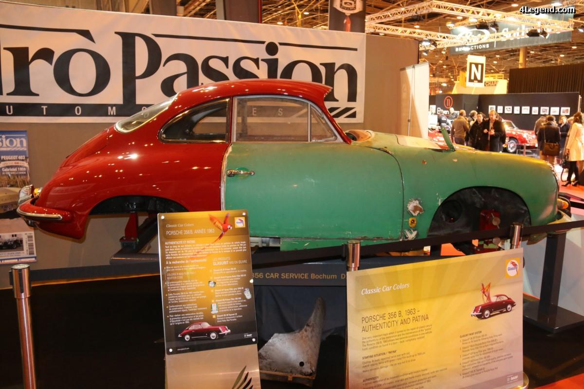 Rétromobile 2017 - Porsche 356 B de 1963 montrant les différentes étapes d'une restauration avec des produits Glasurit