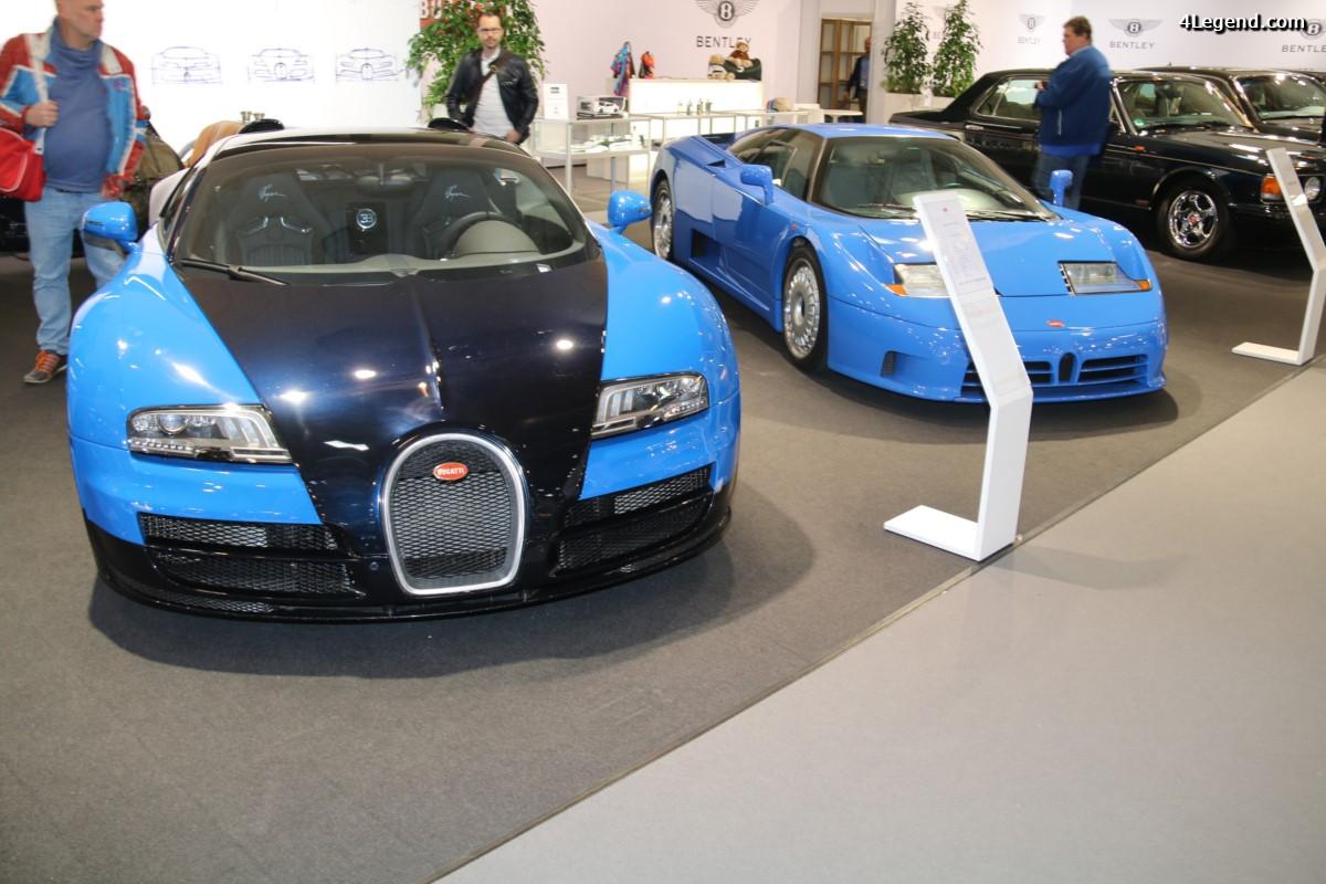 Techno Classica 2017 - Bugatti Veyron Grand Sport Vitesse & EB 110 GT aux côtés d'une Bugatti Type 51