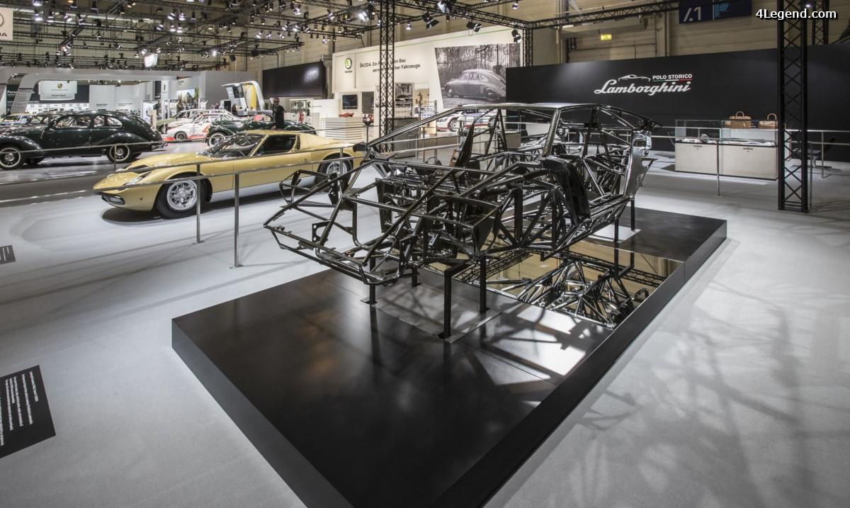 Techno Classica 2017 - Lamborghini PoloStorico expose une Miura P400 SV et le châssis d'une Countach LP400