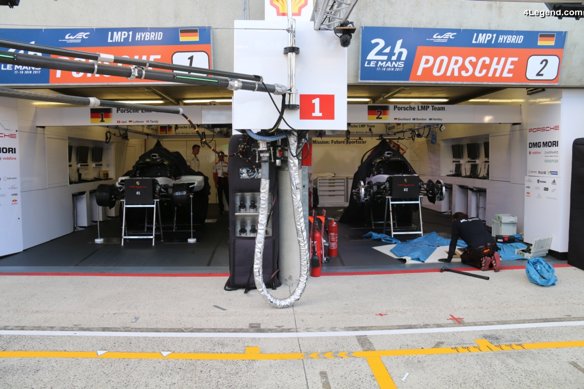 24H 2017 - Préparation des voitures avant la course - Porsche 919 hybrid & 911 RSR démontées