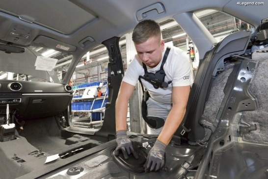 Déploiement de l'exosquelette au sein de la production Audi permettant de travailler sans mal de dos