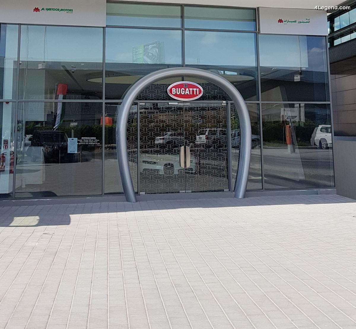 Visite du showroom Bugatti à Dubaï exposant une Bugatti Chiron unique