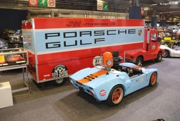 Rétromobile 2018 – Camion Ludic Auto et semi-remorque porte voiture Porsche Gulf Racing