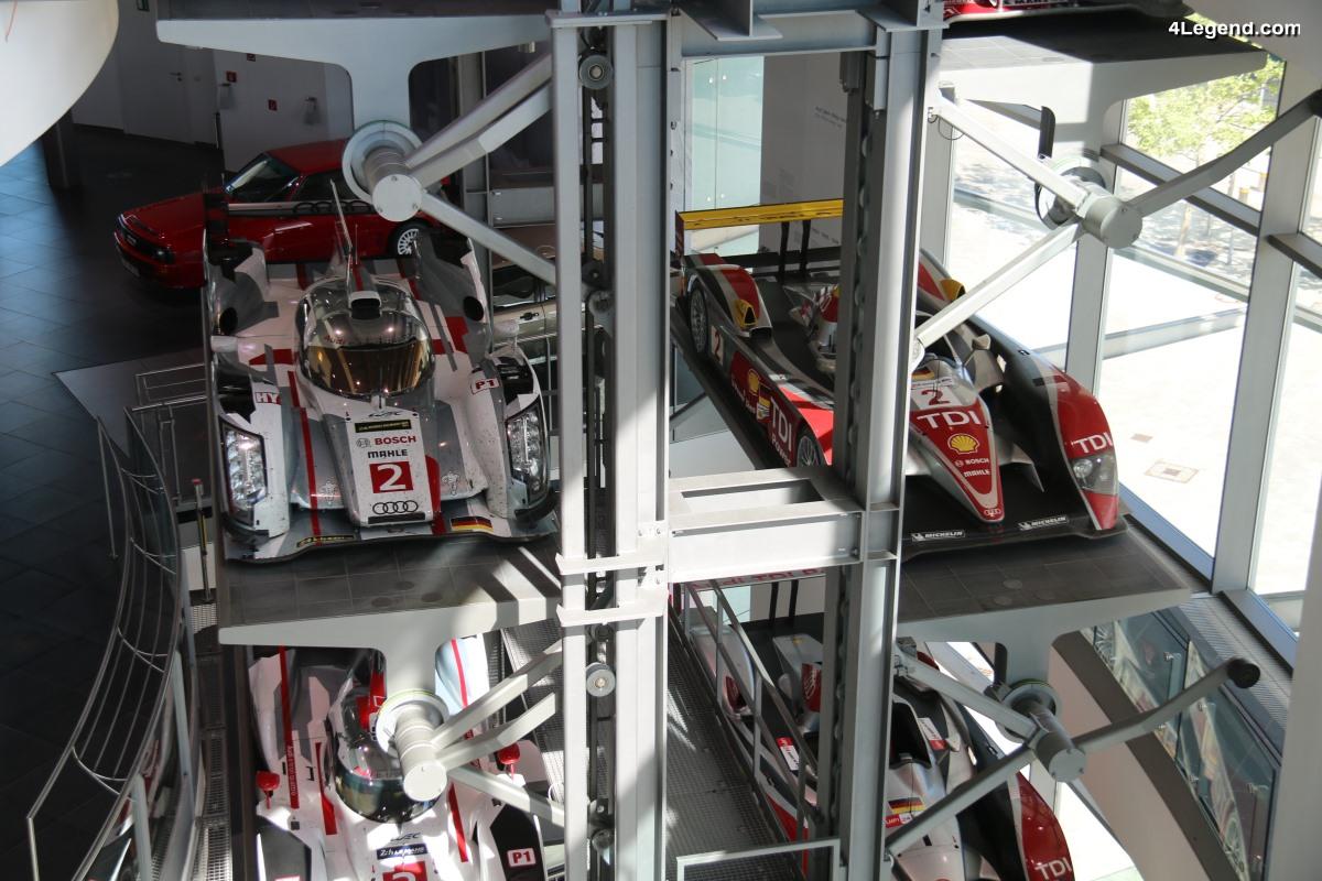 Superbe exposition à l'Audi museum mobile des voitures de course Audi victorieuses aux 24 Heures du Mans