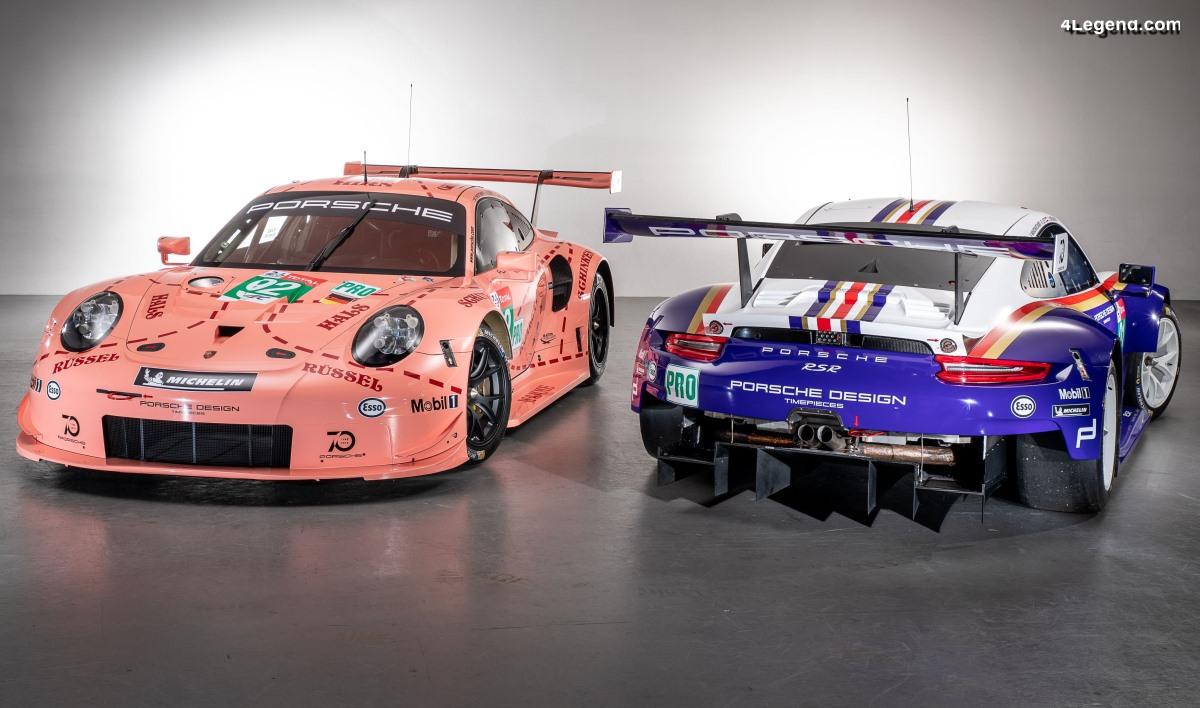 Deux Porsche 911 RSR en décorations historiques aux 24 Heures du Mans 2018