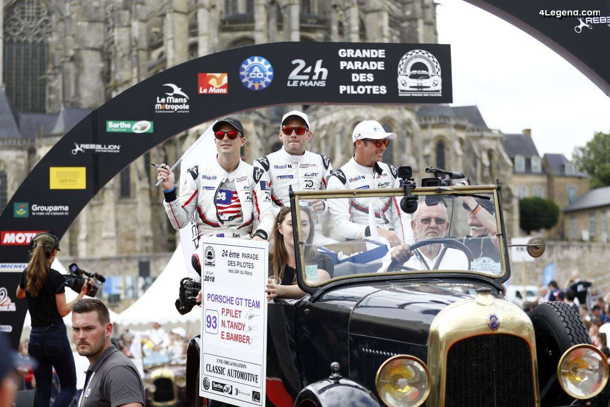 24H Mans 2018 - Equipages Porsche à la Parade des pilotes