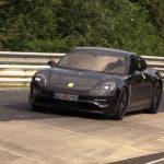 Spyshots Porsche Taycan en roulage très silencieux au Nürburgring