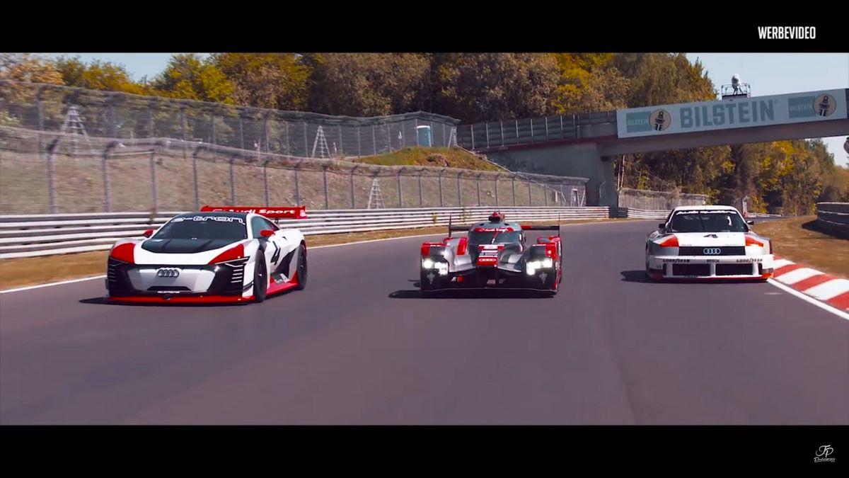 Audi Vision GT, R18 e-tron & 90 quattro IMSA GTO sur le Nürburgring - Nordschleife