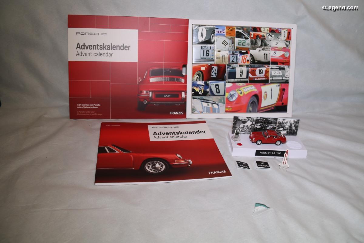 Calendrier de l'Avent Porsche avec une miniature sonore de 911 à monter - Edition Franzis