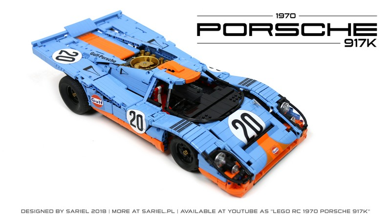 une incroyable porsche 917k t l command e en lego technic. Black Bedroom Furniture Sets. Home Design Ideas