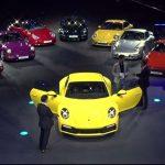 Défilé des 8 générations de Porsche 911 au lancement de la 992 à Los Angeles