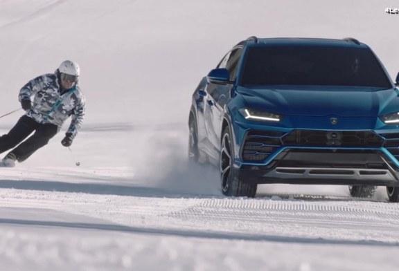 Alberto Tomba vs Lamborghini Urus sur une piste de ski