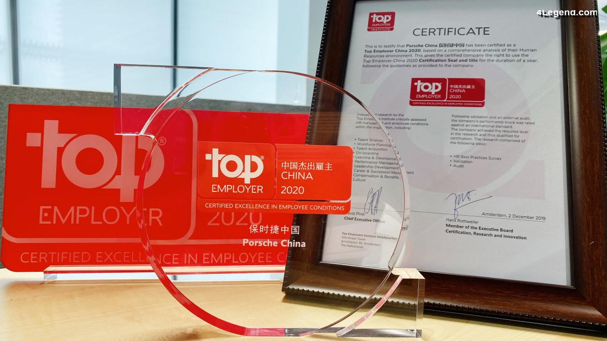 Porsche élu «Meilleur employeur 2020» en Chine