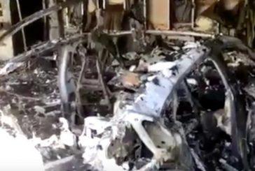 Un Porsche Taycan ravagé par le feu dans un garage en Floride
