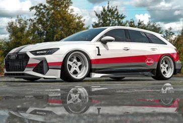 Une Audi RS 6 Avant rendant hommage au S1 quattro Pikes Peak de Walter Röhrl